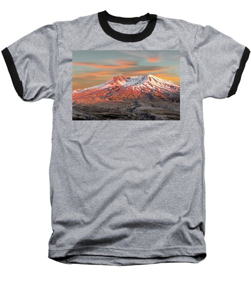 Mount St Helens Sunset Washington State Baseball T-Shirt
