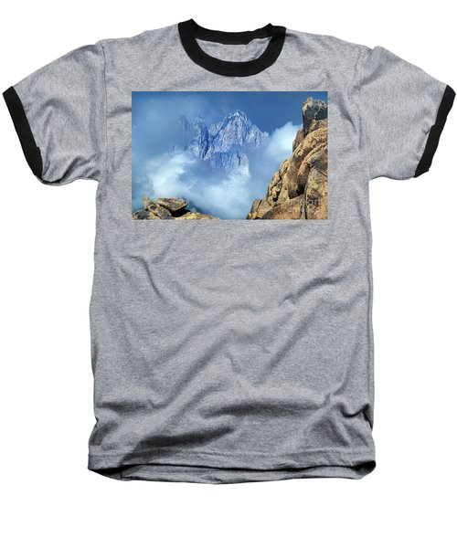 Mount Whitney Clearing Storm Eastern Sierras California Baseball T-Shirt by Dave Welling