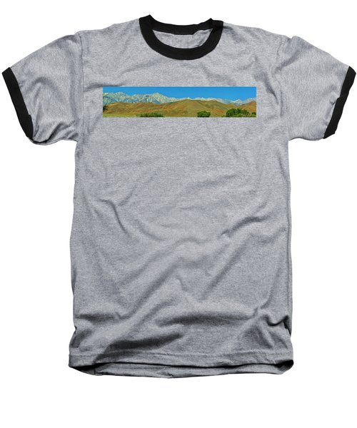 Mount Whitney Panorama Baseball T-Shirt