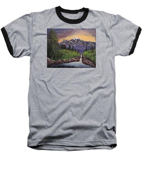 Mountain And Waterfall 2 Baseball T-Shirt