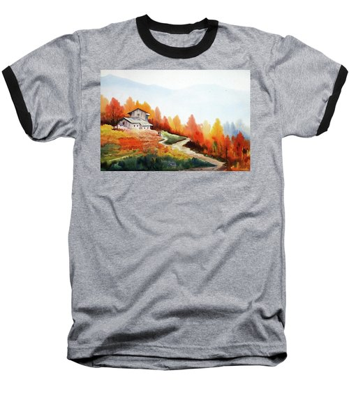 Mountain Autumn Forest Baseball T-Shirt by Samiran Sarkar