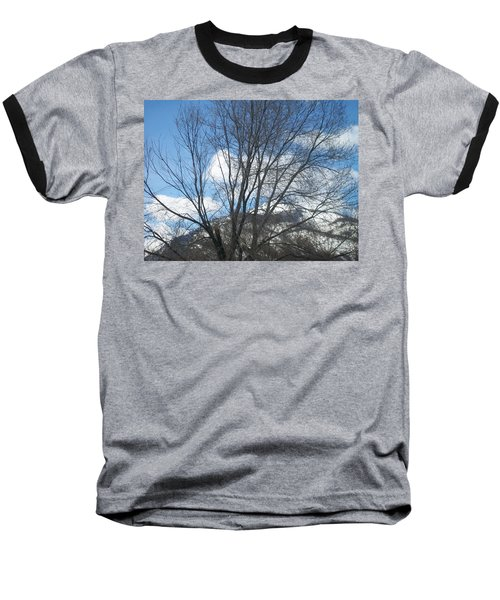 Mountain Backdrop Baseball T-Shirt by Jewel Hengen