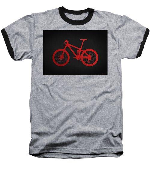Mountain Bike - Red On Black Baseball T-Shirt