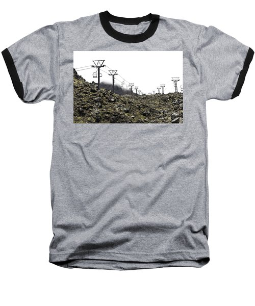 Baseball T-Shirt featuring the photograph Mountain Cable Road Waiting For Snow. Mount Ruapehu. New Zealand by Yurix Sardinelly