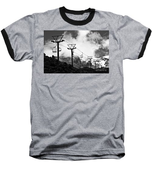 Baseball T-Shirt featuring the photograph Mountain Cable Road Waiting For Snow by Yurix Sardinelly