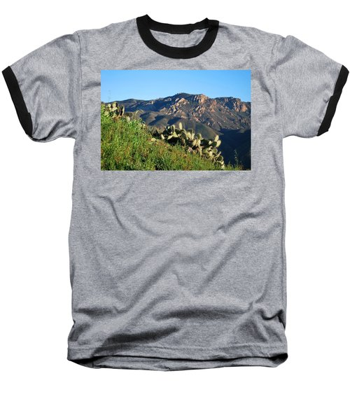 Mountain Cactus View - Santa Monica Mountains Baseball T-Shirt