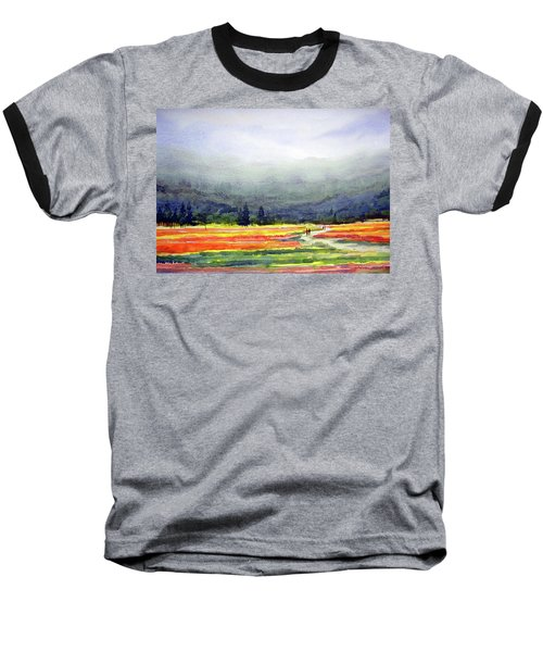Mountain Flowers Valley Baseball T-Shirt by Samiran Sarkar