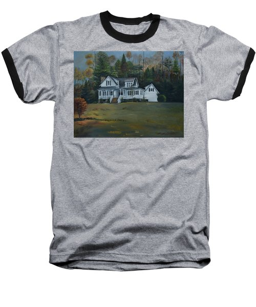 Baseball T-Shirt featuring the painting  Mountain Home At Dusk by Jan Dappen