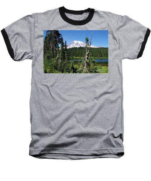 Mountain Lake And Mount Rainier Baseball T-Shirt by Ansel Price