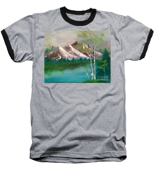 Baseball T-Shirt featuring the painting Mountain Lake by Denise Tomasura