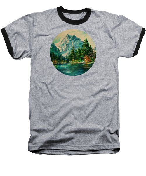 Mountain Lake Baseball T-Shirt by Mary Wolf
