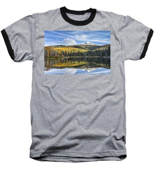 Mountain Lake Reflection Baseball T-Shirt