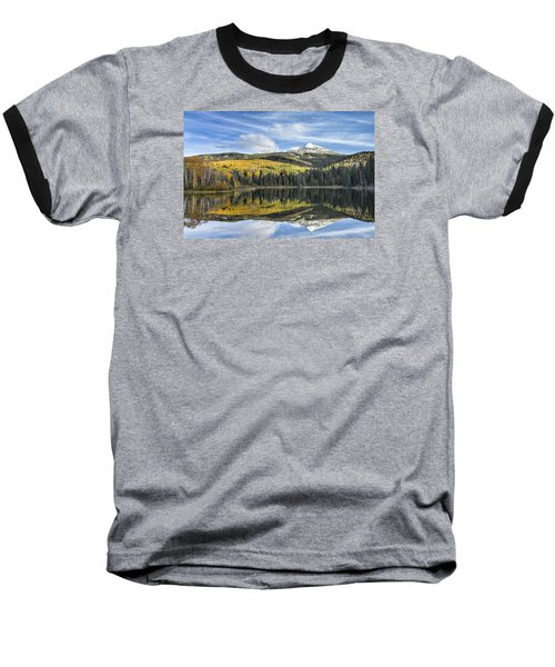 Mountain Lake Reflection Baseball T-Shirt