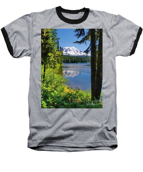 Mountain Lake Reflections Baseball T-Shirt