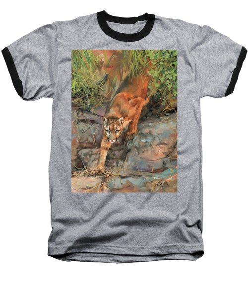 Baseball T-Shirt featuring the painting Mountain Lion 2 by David Stribbling