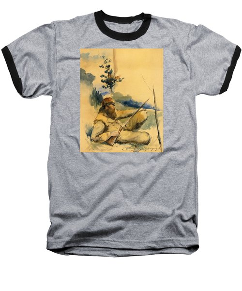Baseball T-Shirt featuring the drawing Mountain Man by Charles Schreyvogel