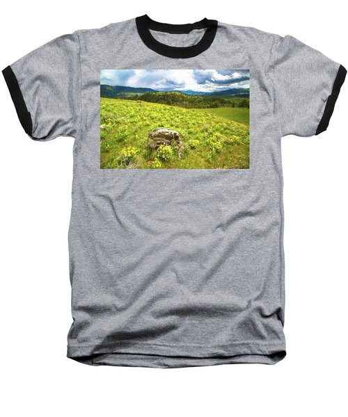 Mountain Meadow Impressionist Digital Art Baseball T-Shirt