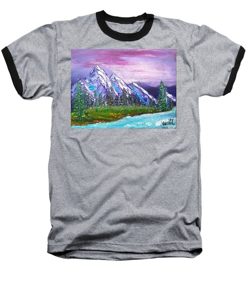 Mountain Meadow Landscape Scene Baseball T-Shirt