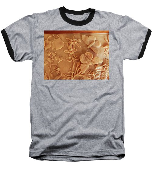 Mountain Meadow Original Clay Relief - Checkerspot Butterfly Detail Baseball T-Shirt by Dawn Senior-Trask