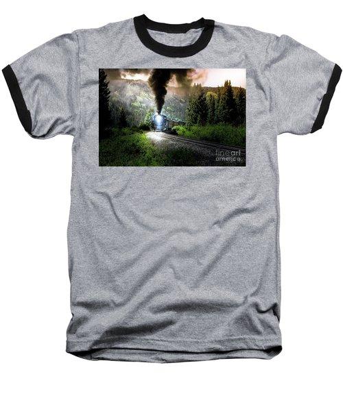 Mountain Railway - Morning Whistle Baseball T-Shirt by Robert Frederick