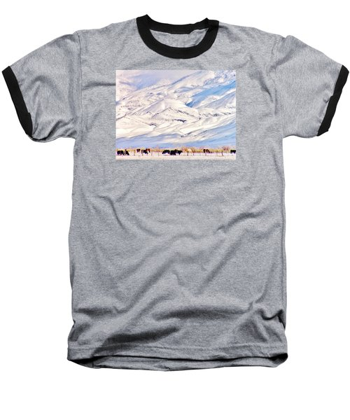 Mountain Snow Baseball T-Shirt