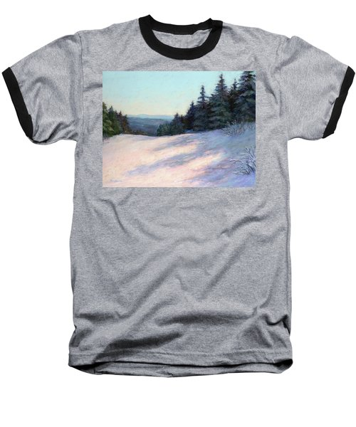 Baseball T-Shirt featuring the painting Mountain Stillness by Vikki Bouffard