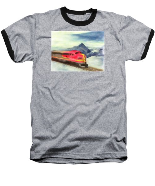 Baseball T-Shirt featuring the painting Mountain Train by Michael Cleere