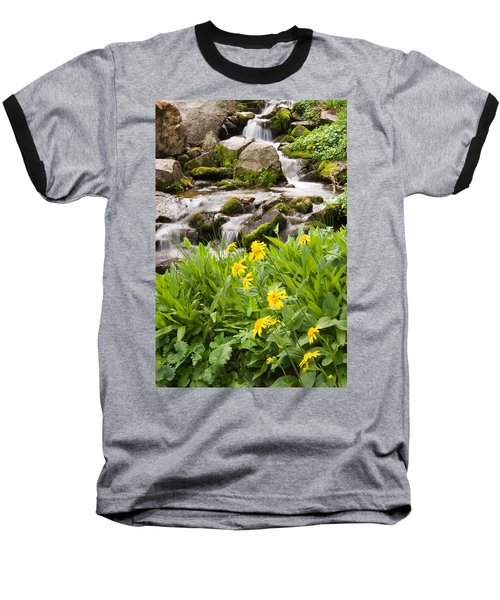 Mountain Waterfall And Wildflowers Baseball T-Shirt by Utah Images