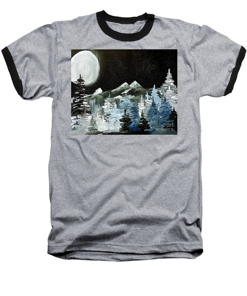 Mountain Winter Night Baseball T-Shirt by Tom Riggs