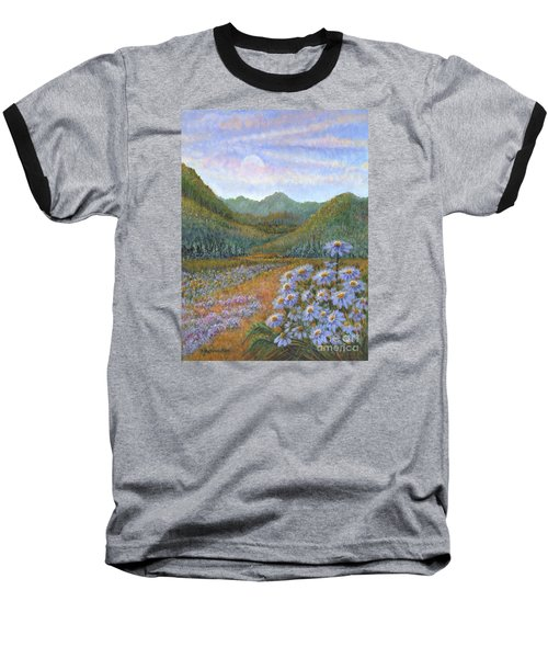 Mountains And Asters Baseball T-Shirt by Holly Carmichael