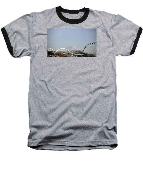 Mountains And City Baseball T-Shirt