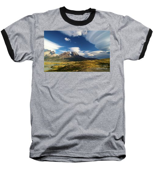 Mountains And Clouds In Patagonia Baseball T-Shirt