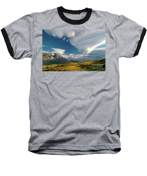 Mountains And Lenticular Cloud In Patagonia Baseball T-Shirt