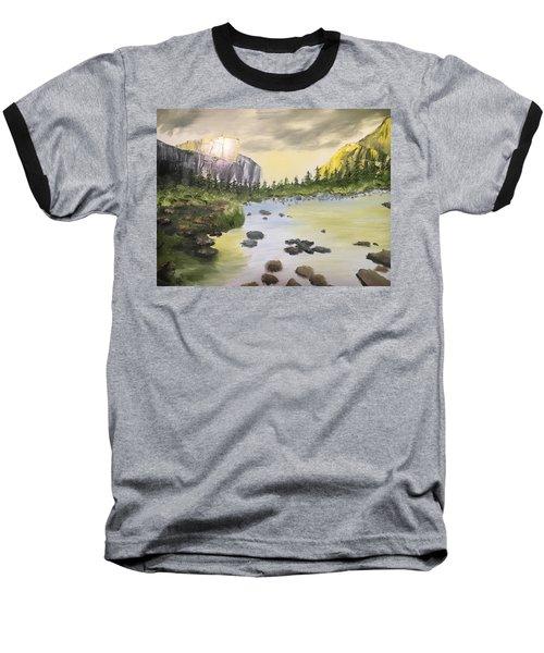 Mountains And Stream Baseball T-Shirt