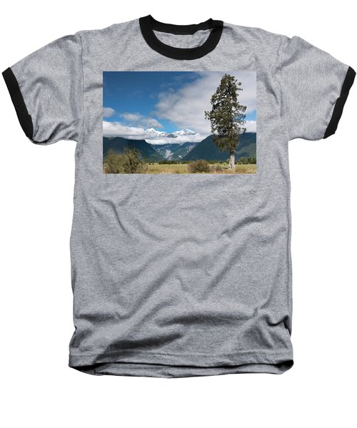 Baseball T-Shirt featuring the photograph Mountains And Tree, Lake Matheson by Gary Eason