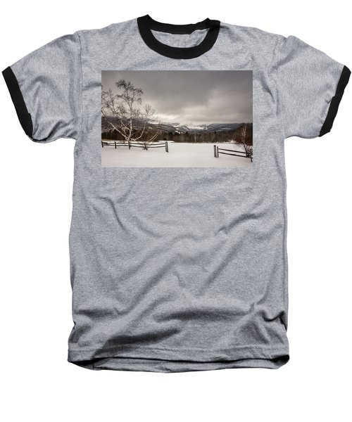 Mountains In Winter Baseball T-Shirt