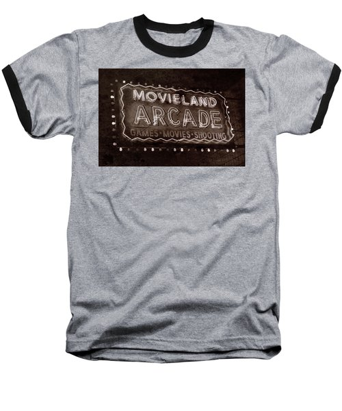 Baseball T-Shirt featuring the photograph Movieland Arcade - Gritty by Stephen Stookey