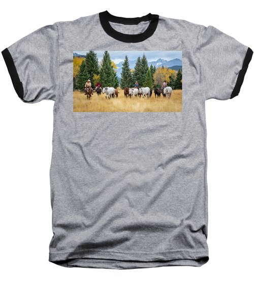 Moving The Herd Baseball T-Shirt by Jack Bell