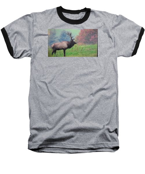 Baseball T-Shirt featuring the photograph Mr Elk Enjoying The Autumn by Jeanette Oberholtzer
