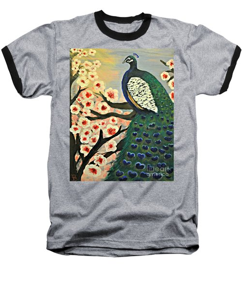 Mr. Peacock Cherry Blossom Baseball T-Shirt by Mindy Bench