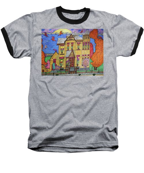 Baseball T-Shirt featuring the drawing Mrs. Robert Stephenson Home. by Jonathon Hansen
