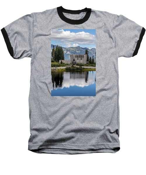Mt Baker Lodge Reflecting In Picture Lake 3 Baseball T-Shirt by Rob Green