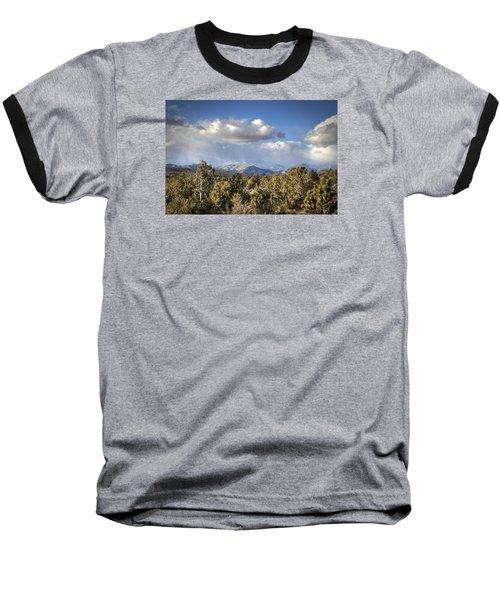 Mt Charleston Snow Storm Baseball T-Shirt