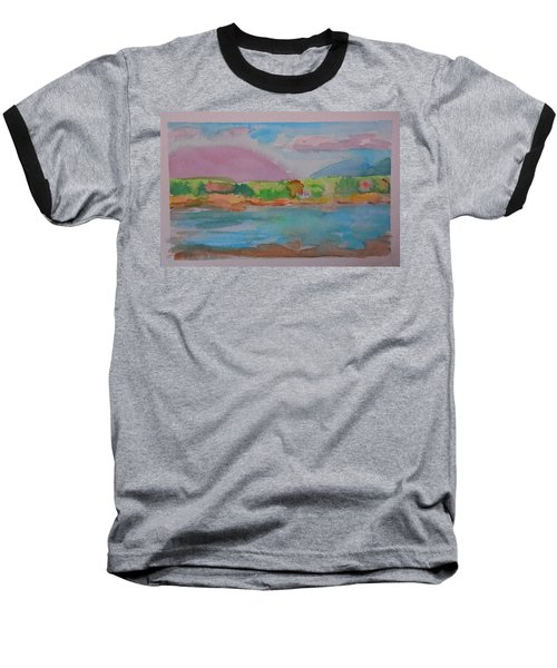 Baseball T-Shirt featuring the painting Mt Desert From Marlboro Beach by Francine Frank