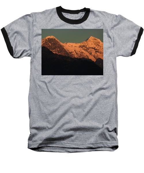 Mt. Eiger And Mt. Moench At Sunset Baseball T-Shirt by Ernst Dittmar