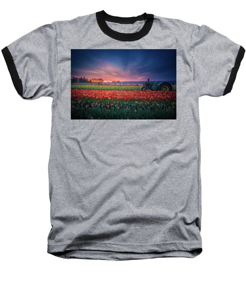 Mt. Hood And Tulip Field At Dawn Baseball T-Shirt
