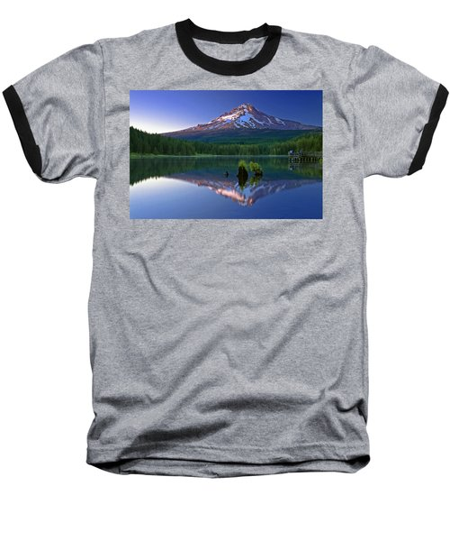 Mt. Hood Reflection At Sunset Baseball T-Shirt