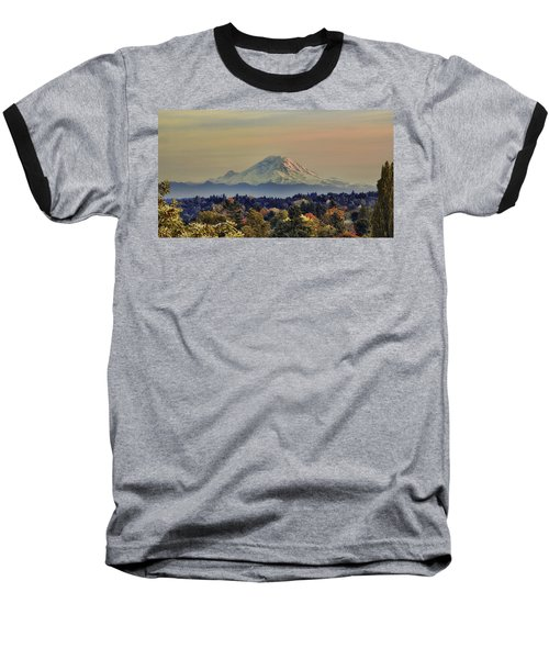 Mt Rainer Fall Color Rising Baseball T-Shirt