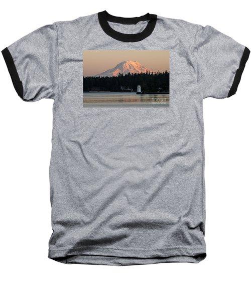 Mt Rainier Alpine Glow I Baseball T-Shirt by Chuck Flewelling