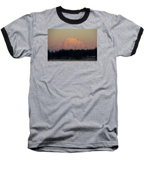 Mt Rainier Alpine Glow II Baseball T-Shirt by Chuck Flewelling